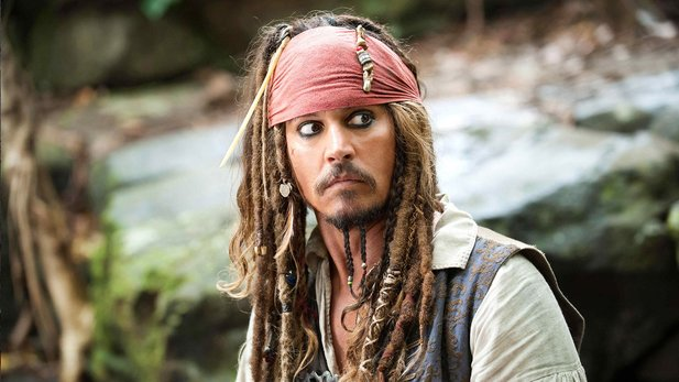 Johnny Depp als Captain Jack Sparrow in Fluch der Karibik