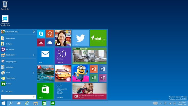 Microsoft hat die Windows 10 Preview-Version aktualisiert.