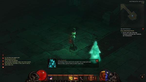 Diablo 3 - Komplettlösung : Fürstin Dunhylds Geist bittet uns um einen Gefallen.