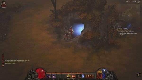 Diablo 3 - Komplettlösung : Der Eingang zur Höhle von Khazra kann sich an verschiedenen Stellen der Felder des Elends befinden.