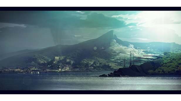<b>The Bay</b><br>Originally meant to be a mood board, Sergey Kolesov pushed the limits here by showing the bay being hit by the sun and rain at the same time, while the mountain blows its dust along the wind corridor.