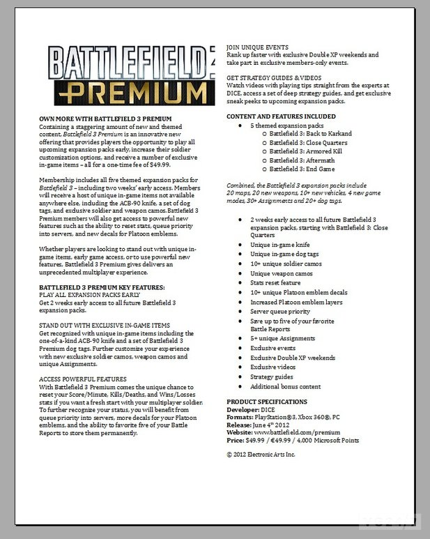 Fact Sheet zu Battlefield 3 Premium (Quelle: vg247.com)