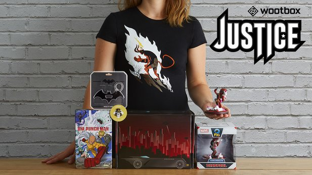 Die Wootbox »Justice« vereint die Helden aus Deadpool, Batman und One Punch Man.