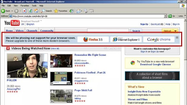 Der Internet Explorer 6-Banner bei Youtube (Bild Chris Zacharias)