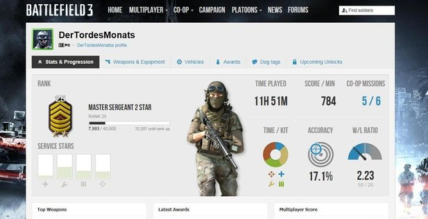 Die Battlelog-Website von Battlefield 3.