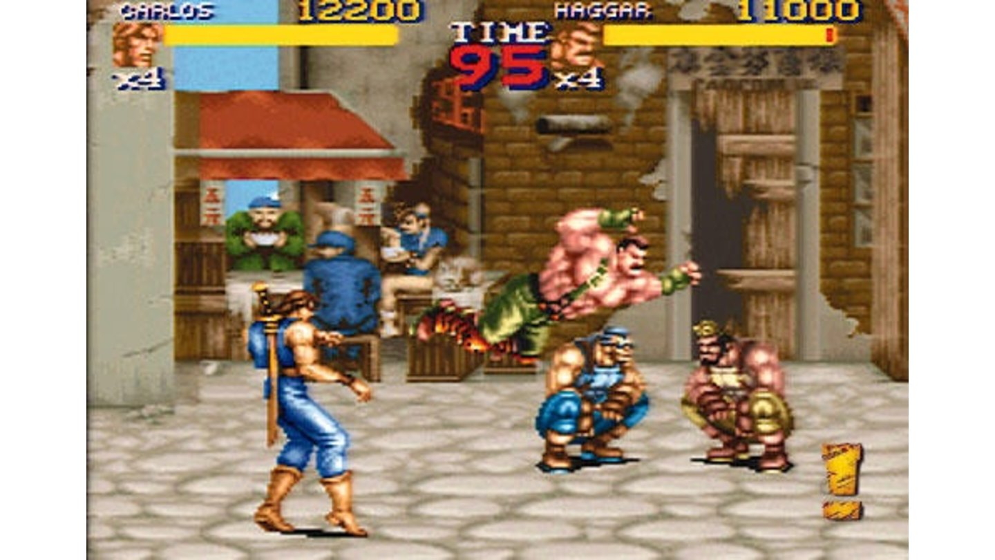 Haggar in action (Notice Streetfighter's Chun-Li in the background)