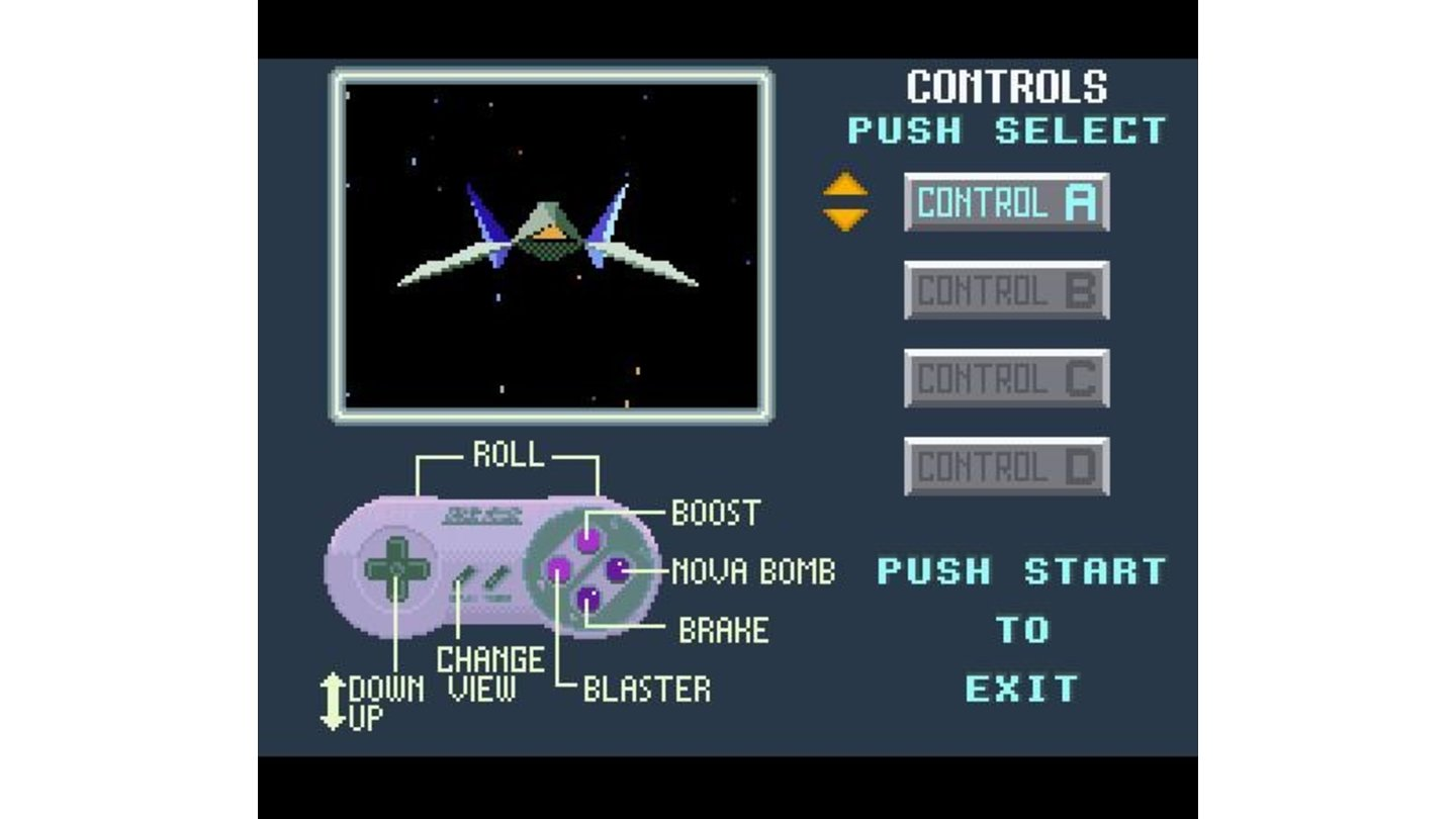 After the title screen you can configure your controls, and at the same time get a feel for the movement of your Arwing